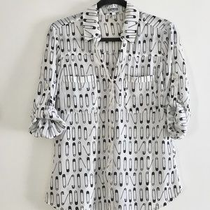 Slim Fit Safety Pin Button Up Blouse